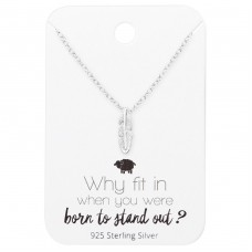 Feather Necklace On Motivational Quote Card - 925 Sterling Silver Sets Necklace with Earrings A4S35909