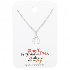 Wishbone Necklace On Cute Card - 925 Sterling Silver Sets Necklace with Earrings A4S35911