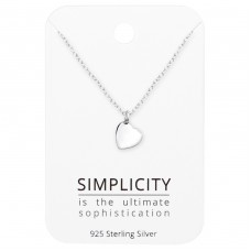 Heart Necklace On Simplicity Card - 925 Sterling Silver Sets Necklace with Earrings A4S35912