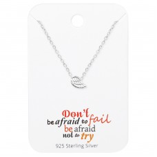 Wing Necklace On Motivational Quote Card - 925 Sterling Silver Sets Necklace with Earrings A4S35920