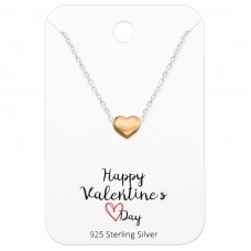 Heart Necklace On Happy Valentine's Day Card - 925 Sterling Silver Sets Necklace with Earrings A4S35929