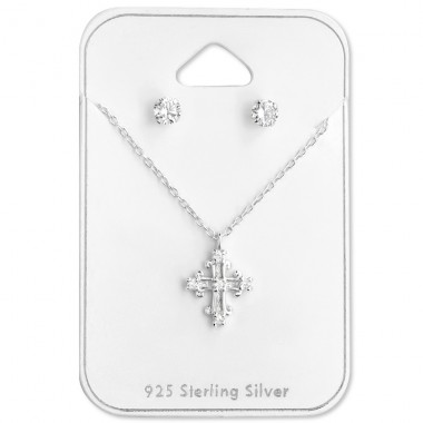 Cross - 925 Sterling Silver Sets Necklace with Earrings A4S28921