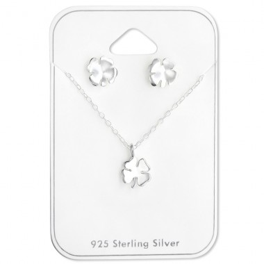 Lucky Clover - 925 Sterling Silver Sets Necklace with Earrings A4S28928