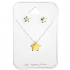 Star - 925 Sterling Silver Sets Necklace with Earrings A4S28932