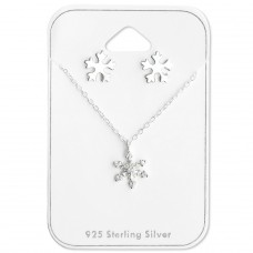 Snowflake - 925 Sterling Silver Sets Necklace with Earrings A4S28935