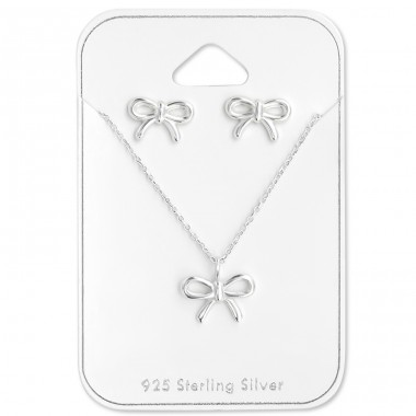 Bow - 925 Sterling Silver Sets Necklace with Earrings A4S28936