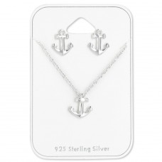 Anchor - 925 Sterling Silver Sets Necklace with Earrings A4S28939