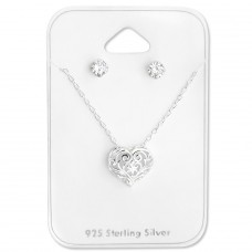 Heart - 925 Sterling Silver Sets Necklace with Earrings A4S28945