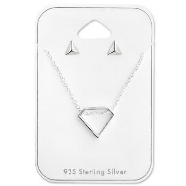 Geometric - 925 Sterling Silver Sets Necklace with Earrings A4S28951