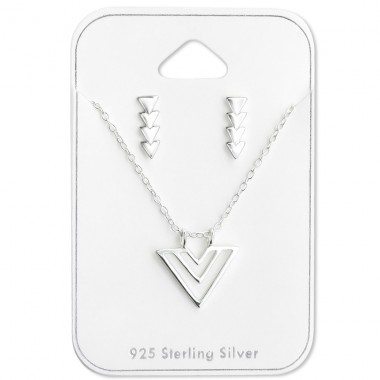 Triangle - 925 Sterling Silver Sets Necklace with Earrings A4S28952