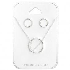 Circle - 925 Sterling Silver Sets Necklace with Earrings A4S28953
