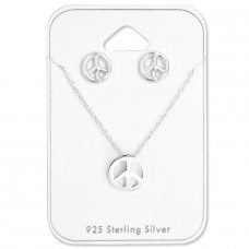 Peace - 925 Sterling Silver Sets Necklace with Earrings A4S28954