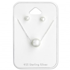 Round - 925 Sterling Silver Sets Necklace with Earrings A4S28956