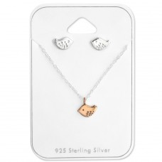 Bird - 925 Sterling Silver Sets Necklace with Earrings A4S28961