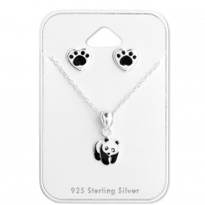 Panda - 925 Sterling Silver Sets Necklace with Earrings A4S28983