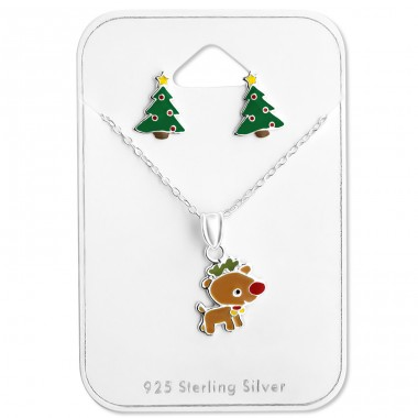 Christmas - 925 Sterling Silver Sets Necklace with Earrings A4S28988