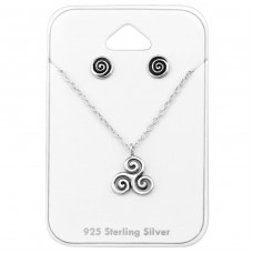Celtic - 925 Sterling Silver Sets Necklace with Earrings A4S33940