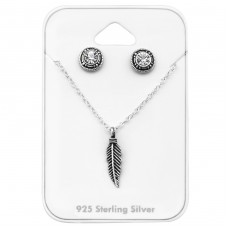 Feather - 925 Sterling Silver Sets Necklace with Earrings A4S33943