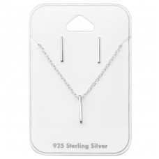 Bar - 925 Sterling Silver Sets Necklace with Earrings A4S33944