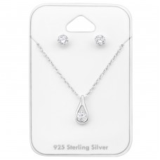 Tear Drop - 925 Sterling Silver Sets Necklace with Earrings A4S33945