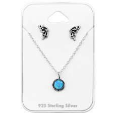 Oxidized - 925 Sterling Silver Sets Necklace with Earrings A4S33949