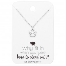 Paw Print Necklace On Motivational Quote Card - 925 Sterling Silver Sets Necklace with Earrings A4S35910
