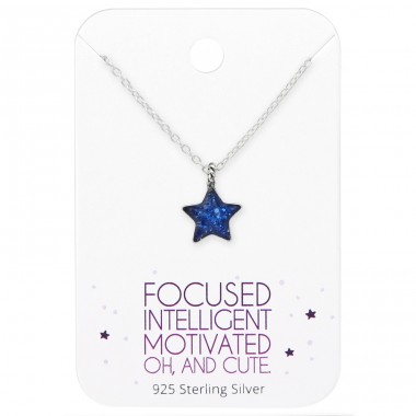 Star Necklace On Cute Card - 925 Sterling Silver Sets Necklace with Earrings A4S35914