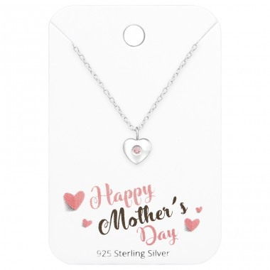 Heart Necklace On Happy Mother's Day Card - 925 Sterling Silver Sets Necklace with Earrings A4S35917