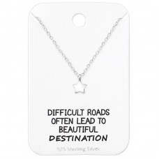 Star Necklace On Motivational Quote Card - 925 Sterling Silver Sets Necklace with Earrings A4S35918