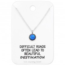 Round Necklace On Motivational Quote Card - 925 Sterling Silver Sets Necklace with Earrings A4S35919