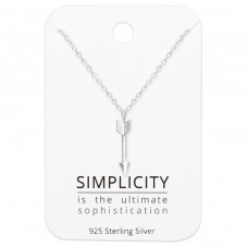Arrow Necklaces On Simplicity Card - 925 Sterling Silver Sets Necklace with Earrings A4S36064