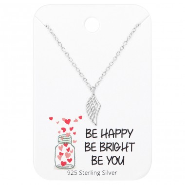Wing Necklaces On Motivational Quote Card - 925 Sterling Silver Sets Necklace with Earrings A4S36065