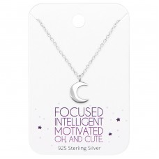 Moon Necklaces On Motivational Quote Card - 925 Sterling Silver Sets Necklace with Earrings A4S36068