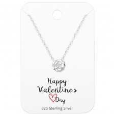 Rose Necklaces On Happy Valentines Day Card - 925 Sterling Silver Sets Necklace with Earrings A4S36069