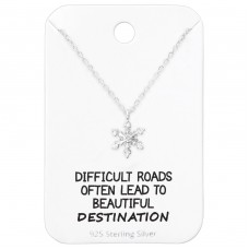 Snowflake Necklace On Motivational Quote Card - 925 Sterling Silver Sets Necklace with Earrings A4S36088