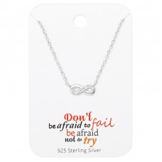 Infinity Necklace On Motivational Quote Card - 925 Sterling Silver Sets Necklace with Earrings A4S36089