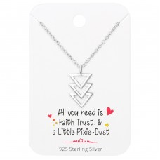 Triangles Necklace On Motivational Quote Card - 925 Sterling Silver Sets Necklace with Earrings A4S36091