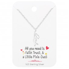 Mermaid Necklace On Motivational Quote Card - 925 Sterling Silver Sets Necklace with Earrings A4S36092