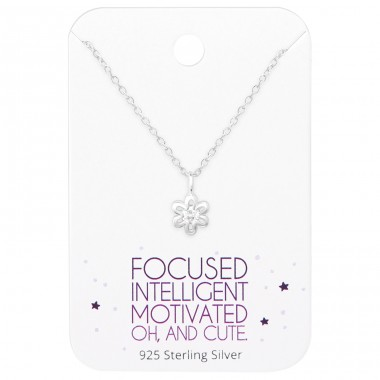 Flower Necklace On Motivational Quote Card - 925 Sterling Silver Sets Necklace with Earrings A4S36093