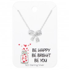 Bow Necklace On Motivational Quote Card - 925 Sterling Silver Sets Necklace with Earrings A4S36098