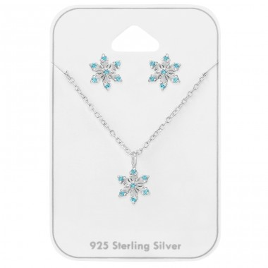 Snowflake - 925 Sterling Silver Sets Necklace with Earrings A4S39729