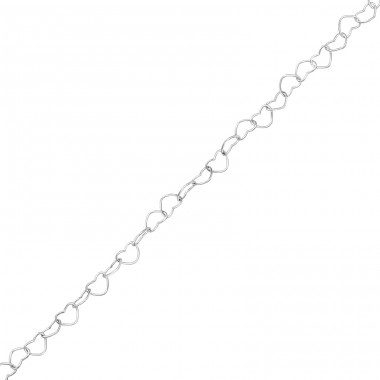 40 cm Heart Link Chain - 925 Sterling Silver Silver Chains A4S35725