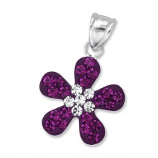 Flower - 925 Sterling Silver Pendants with Zirconia stones A4S10185