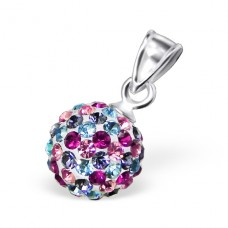 Ball - 925 Sterling Silver Pendants with Zirconia stones A4S12209
