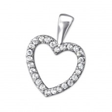 Heart - 925 Sterling Silver Pendants with Zirconia stones A4S27563