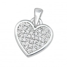 Heart - 925 Sterling Silver Pendants with Zirconia stones A4S30988