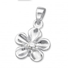 Flower - 925 Sterling Silver Pendants with Zirconia stones A4S3100