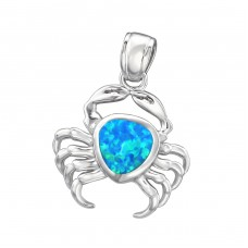 Crab Opal - 925 Sterling Silver Pendants with Zirconia stones A4S34302