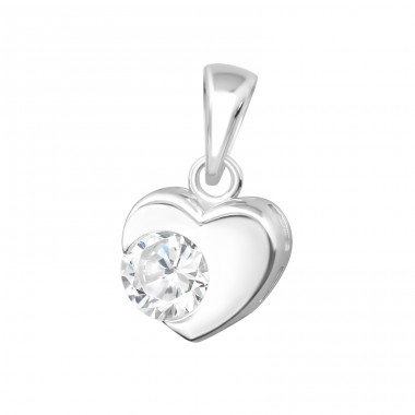 Heart - 925 Sterling Silver Pendants with Zirconia stones A4S35324