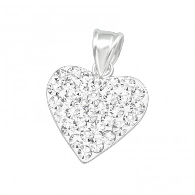 Crystal Heart - 925 Sterling Silver Pendants With Zirconia Stones A4S10024